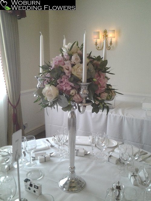 Rose, Hydrangea and Lizzianthus candleabra at the Woburn Hotel.