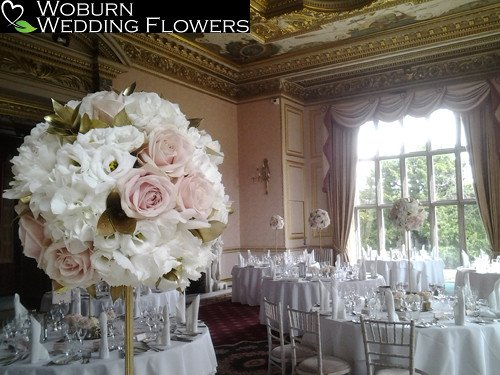 Massed design of Roses, Hydrangea, Fresia and Lizzianthus at Ashridge.