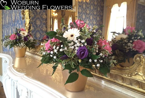Gerbera, Gypsophillia, Rose and Veronica pot arrangement in Wrest Park.