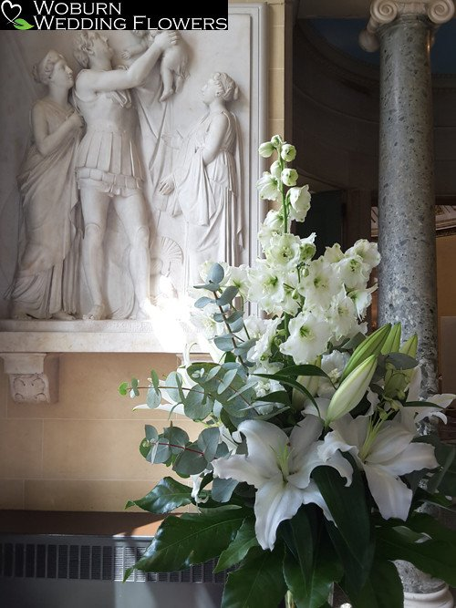 Lilly and Delphinium arrangement at Woburn Sculpture Gallery.