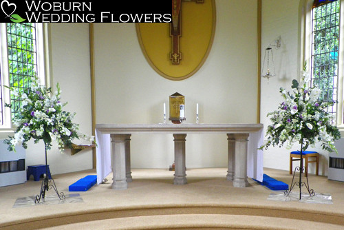 Calla Lilly, Delphinium, Gladioli and Lizzianthus pedestals at St. Mary's Church, Woburn Sands.