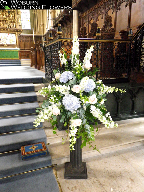 Rose, Hydrangea and Delphinium pedestal at St. Mary's Church, Woburn.