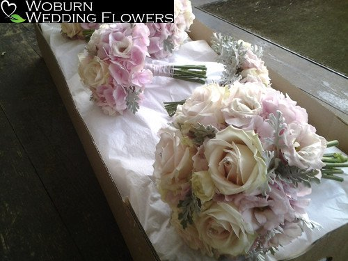 Rose, Hydrangea and Lizzianthus hand tied bouquet.