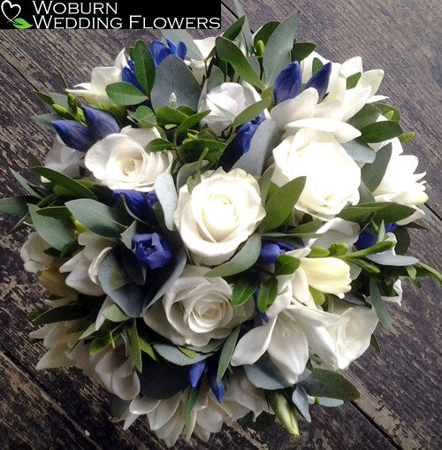 Rose, Freesia and Gentian bouquet.