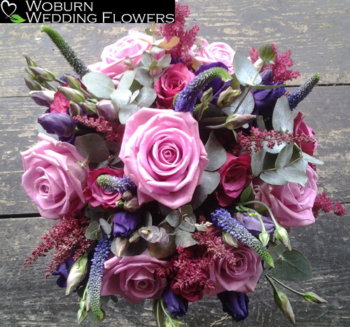 Rose, Astilbe and Lizzianthus hand tied bouquet.