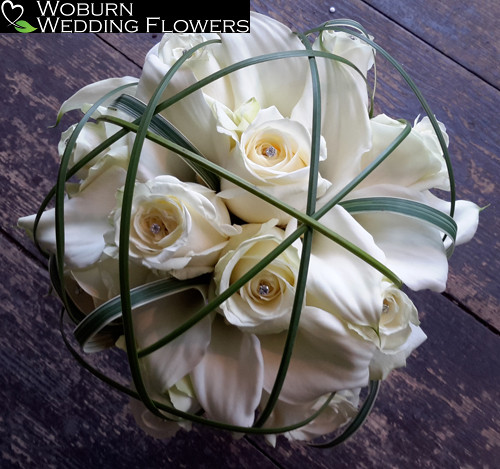 Rose, Calla Lilly and steel Grass bouquet.