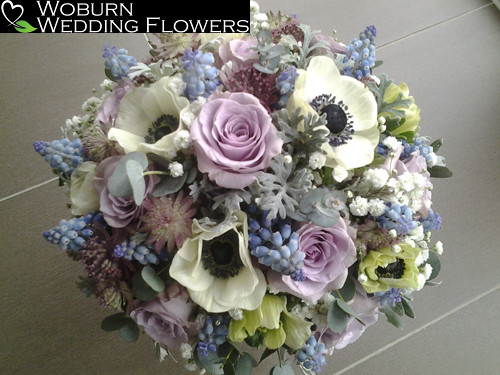 Rose, Astrantia, Anenome and Muscari bouquet.
