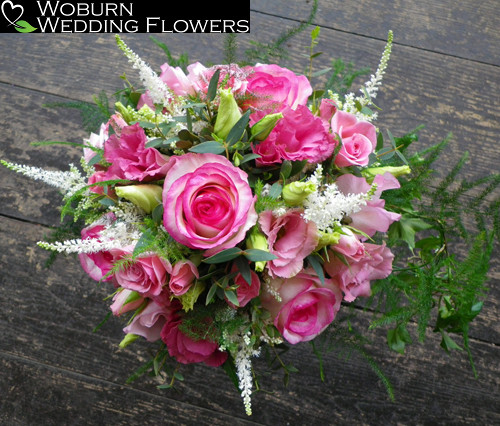 Astilbe, Rose and Lizzianthus hand tied.
