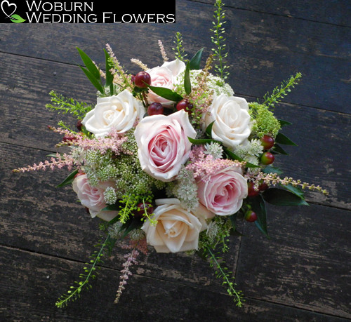Rose, Freesia and Astilbe hand tied bouquet.