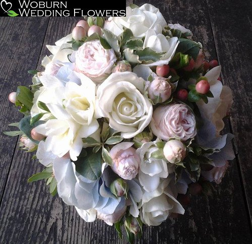 Spray Rose, Rose, Hydrangea, Hypericum and Freesia bouquet.